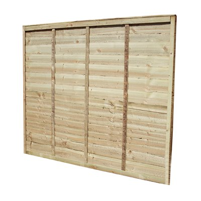 1.83m x 1.83m (6' x 6') Pressure Treated Green Waney Edge Fence Panel